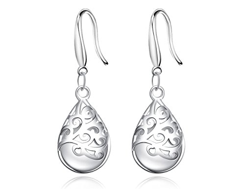 Wishing Tree 925 Sterling Silver Filigree Drop Dangle Earrings for Women (Vogue hook)
