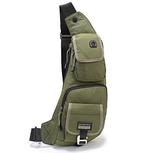 DDDH Men Sling Bags Light Slim Hiking Pack Chest Shoulder Backpack Crossbody Bags for Trip Travels Bike Ride Parks(Army green)