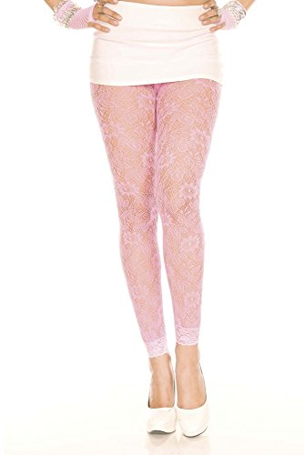 Neon Pink Std. Size (100-175 lbs) Womens Floral Lace Leggings (One Size, Pink)