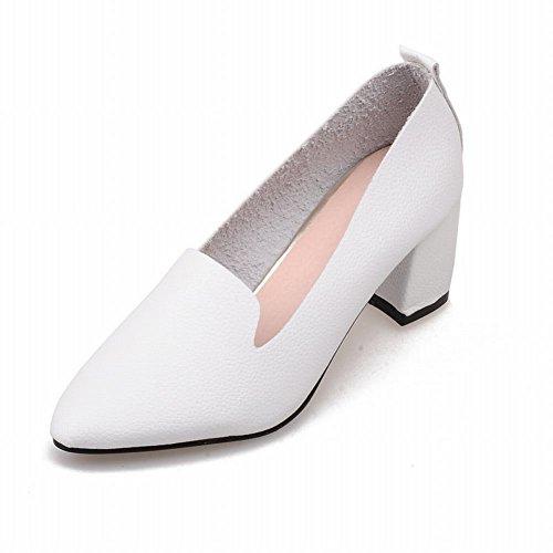 Carolbar Femmes Bout Pointu Mode Simple Sexy Chunky Mi Talon Mocassins Pompes Chaussures Blanc
