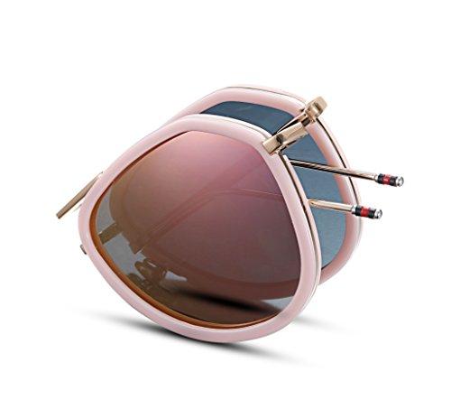 EyeGlow Aviator Style Sunglasses Women Pink Brand Designer Folding Sunglasses for Women Mirror ()
