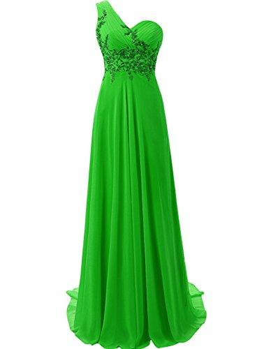Largo de Dama Mujer Hombro Esmeralda Honor la Verde Noche Gasa Un Vestido de JAEDEN de Baile Vestido Vestido de AxYqCY6