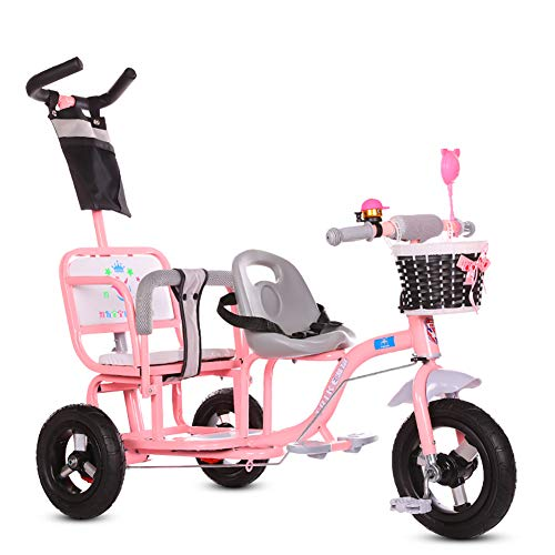 Baby Stroller YXGH@ Children's Tricycle Double Twin Trolley Baby Portable 1-3-6 Years Old Large Baby Carriage Titanium Empty Wheel with Push Handle