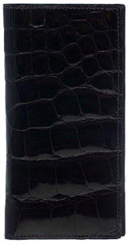 ABCK Checkbook Cover Pocket Wallet Exotic Croc Black Ferrini Cash Mens xpSWqqRT