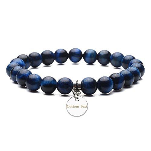 JOVIVI Free Engraving - Personalized Semi Precious Gemstones Round Beads Healing Power Crystal Stretch (Blue Semi Precious Stone)