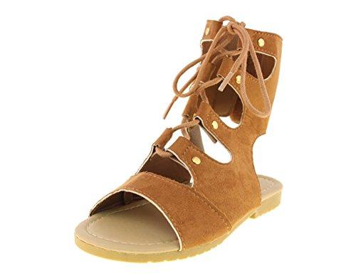bebe-toddler-girls-lace-up-gladiator-cognac-sandals-size-7-8