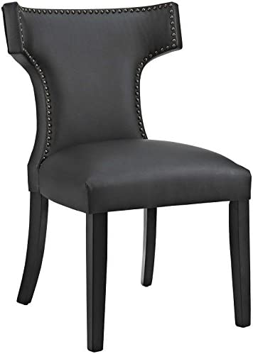 Modway Curve Mid-Century Modern Faux Leather Upholstered Kitchen and Dining Room Chair with Nailhead Trim in Black