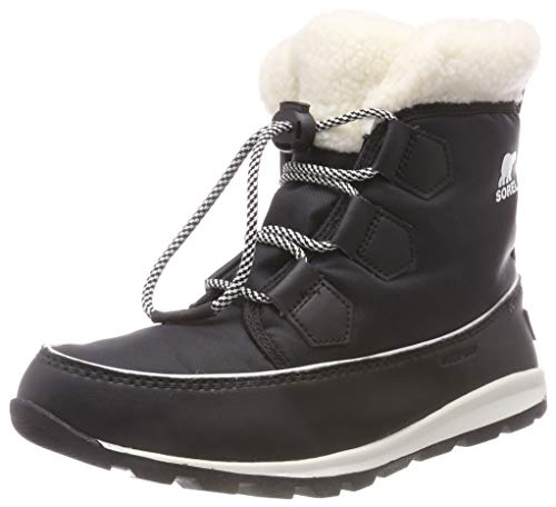 (Sorel Girls' Youth Whitney Carnival Snow Boot, Black, sea Salt, 2 M US Big Kid)