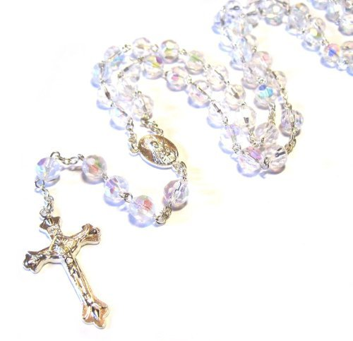 Silver Plated Necklace Rosary Crystal CLEAR Glass Beads & Jesus Crucifix and Jerusalem Cross by Accessory