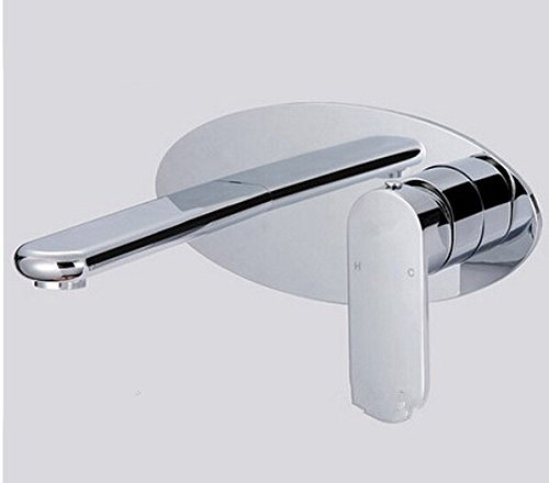GOWE Modern Chrome Finished Bathroom Sink Basin Faucet Solid Brass Mixer Tap Single Handle Dual Holes Wall Mounted 1