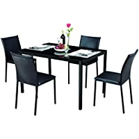 Tangkula Dining Table Set 5 Piece Home Kitchen Glass Top Table with 4 Chairs Breaksfast Furniture