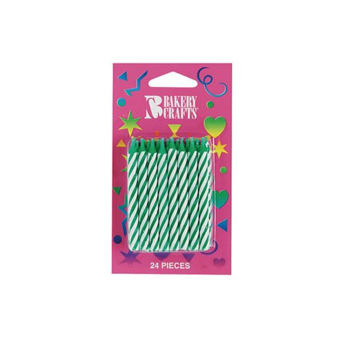 """Bakery Crafts 2.5"""" Green Stripe Candle, 24 pk"""