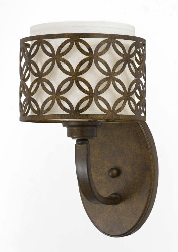 Triarch International 35100/1 Orion 1-Light Wall Sconce with Off-White Fabric Shade, Aged Bronze - Bronze Pendant Triarch