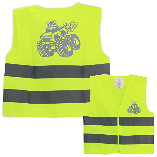 Kid's reflective vest with monster trucks! High visibility safety vest & Halloween construction workers costume for 3 to 7 years old.