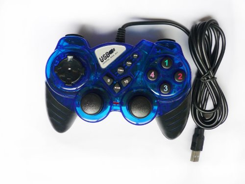 USB Double Dual Shock Joypad Game & Computer Controller – Blue & Black