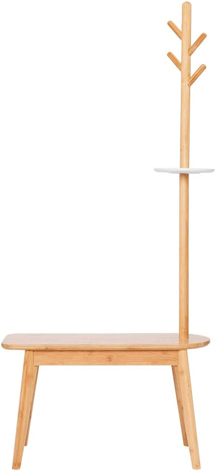 ZEN'S BAMBOO Coat Rack with Bench House Shape Entryway Hat Rack Home Decor Furniture