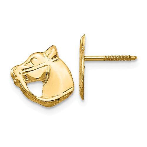 14K White Gold Screwback Horse Post Earrings - (0.39 in x 0.39 in)
