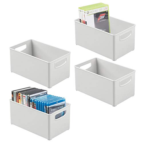mDesign Plastic Stackable Home Storage Organizer Container Bin Box with Handles - for Media Consoles, Closets, Cabinets - Holds DVD's, Blu Ray, Video Games, Gaming Accessories - 4 Pack - Light Gray