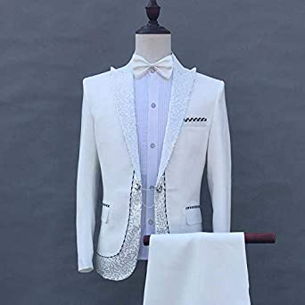 Michealboy Mens 2 Piece Slim fit Sequin Single Breasted Suits White//Black