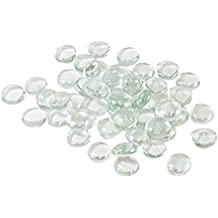 Houseables Clear Marbles, Pebbles for Vases, 5 LB, 500-600 Stones, Flat Bottom, Round Top, Glass Rocks, Bowl Filler Gems, Iridescent Floral Decor, Decorative Centerpieces, Florist Supplies, Aquarium