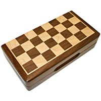 Frances 8 Inch Chess Folding Magnetic Inlaid Wood Board Game with Wooden Pieces - Travel Size