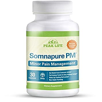 Somnapure PM Natural Sleep Aid to Reduce Minor Aches with Melatonin, Valerian, Bromelain,