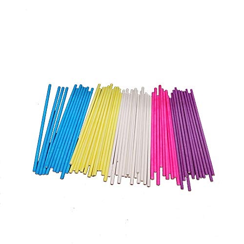 6 inch Colored Lollipop Sticks 7 Colors for Cake Pops Apple Candy (Rose-red, Blue, Yellow, Purple, Green, Watermelon Red, White)