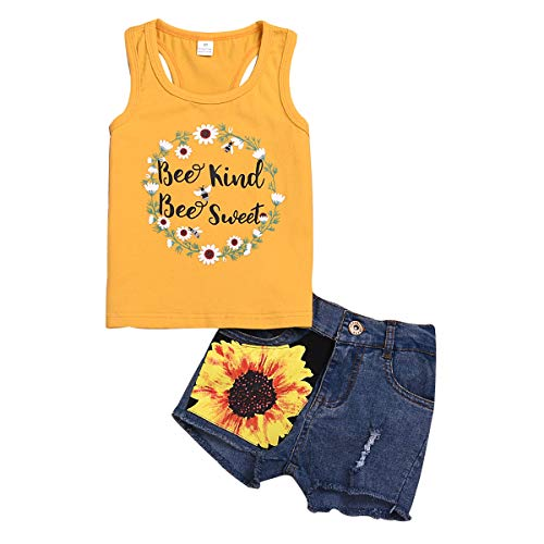 2Pcs/Set Toddler Kids Baby Girl Sleeveless T-Shirt Top+Sunflower Denim Jeans Shorts Outfits (Yellow, 2-3 Years Old) ()