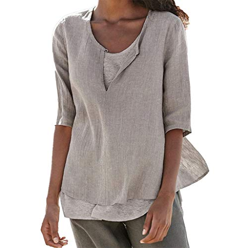 Dainzuy New Women V Neck Long Sleeve Casual Linen Cotton Loose Soft Tunic Tops T Shirt Blouse Plus Size Shirts Gray 16 Flutter Sleeved Tee