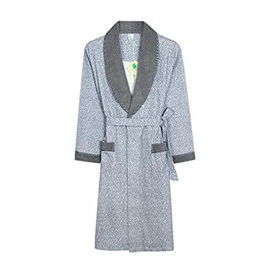 Bathrobe Men Robe 100% Cotton Shawl Collar Bathrobe Dressing Gown Bath Robe Perfect For Gym Shower Spa Hotel Robe Holiday