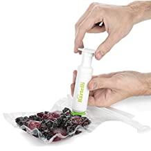 Bartelli Vacuum Food Sealer Valve System - For use with any bag or foods original packaging. Reusable bundle includes Pump, Seals, Valves, and Unnecessary Bags