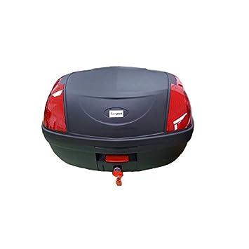Baul Top Case para Moto. Capacidad de 52 litros para Dos Cascos modulares y mas Accesorios. Color Negro, con catadriópticos Rojos. Scooter, ...