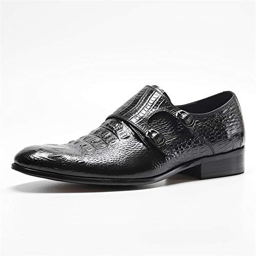 XLY Men's Crinkle Oxford Croco Pattern Dress Shoes, Classic Formal Bussiness Wedding Dress Shoes,Black,38 ()
