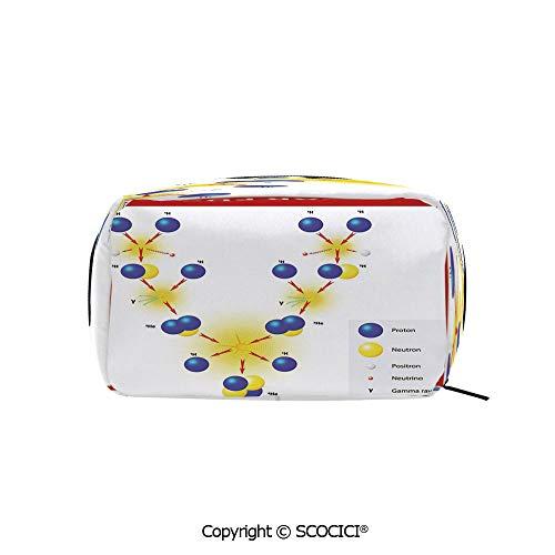 Printed Portable rectangle Makeup Cosmetic Bag Nuclear Fusion Proton Neutron Chain Hydrogen Cosmic Energy Molecule Atom Decorative Durable storage bag for Women Girls ()