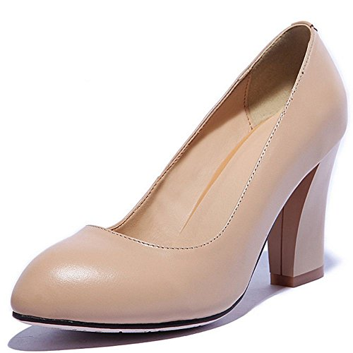 LongFengMa Women Block High Heels Pumps Slip On Leather Court Shoes Nude