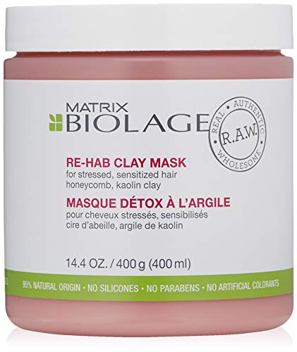 BIOLAGE R.A.W. Re-hab Clay Hair Mask for Stressed, Sensitized Hair with Honeycomb and Kaolin Clay, 14.4 oz.