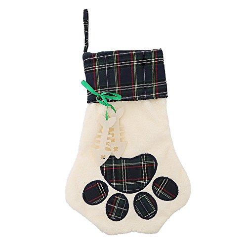 Christmas Stocking for Pet Dog Cat Large Paw Stocking for personalize (green) Cat Paw Stocking