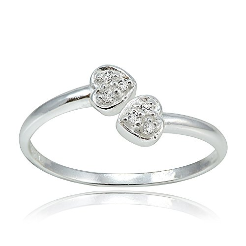 (Hoops & Loops Sterling Silver Cubic Zirconia Double Heart Toe Ring)