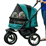 Pet Gear NO-ZIP Double Pet Stroller - Zipperless Entry - for Single or Multiple Dogs Cats - Plush Pad + Weather Cover Included - Large Air Tires - Pine Green