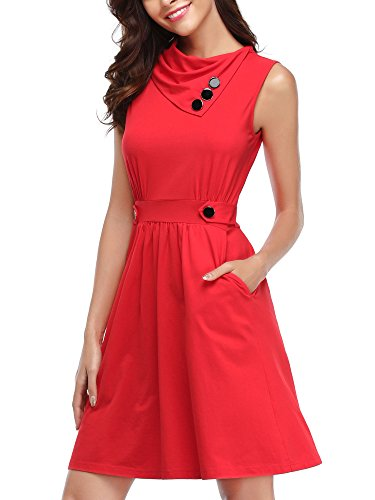 HUHOT Short Dresses For Juniors, Womens Sleeveless Dress With Pocket Casual Spring Midi Flared Tank Dress(Dark Red,Small)