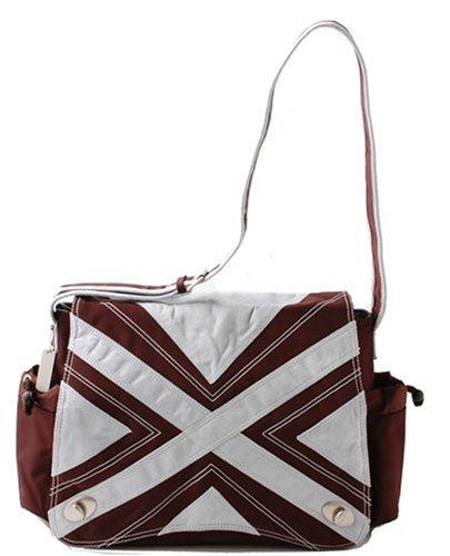 - Kalencom Hannah Messenger Diaper Bag-Chocolate and Blue - Chocolate/Blue