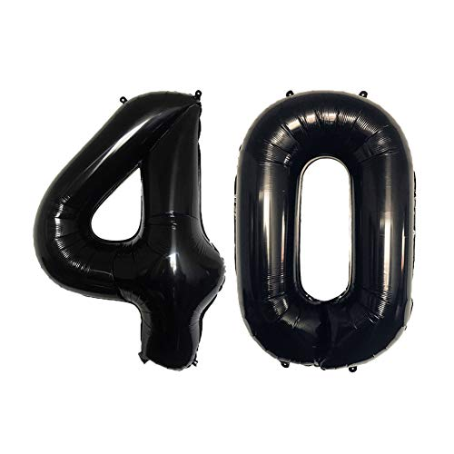 (40th Balloons Birthday Party Decorations for Men 32inch Black Number Balloons Party Supplies Set Birthday)