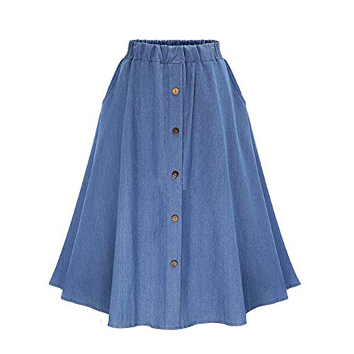 - Alamana Summer Travel Beach Fashion Pretty Women Rivets Elastic Waist A-line Mini Denim Skirt Light Blue One Size
