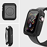 ZYTX Compatible with Apple Watch Series 4 Case 44mm,Shock-Proof Shatter-Resistant TPU Bumper Case,Compatible with iWatch Protector Case 44mm-Black