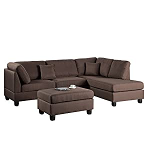 Poundex F7605 Bobkona Dervon Linen-Like Left or Right Hand Chaise Sectional Set with Ottoman