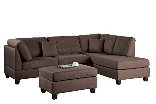 - Poundex F7608 Bobkona Dervon Linen-Like Left or Right Hand Chaise Sectional with Ottoman Set, Chocolate