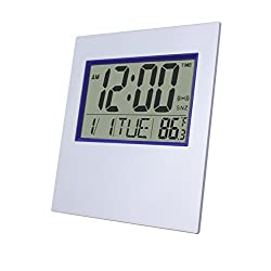 Office Wall Clock,Digital Table Clock with Large LCD Screen with Time/ Alarm/ Snooze/ Month/ Date/ Weekday/ Indoor Temperature (Silver&Gray 2)