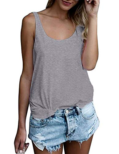 OMSJ Women Shirts Sleeveless Summer Tunic Loose Fit Tank Tops (L, Solid Grey)