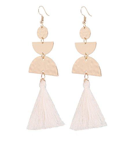 Slide White Earrings - HSWE Leather Sector Tassel Dangle Earring for Women White Long Fringe Drop Earrings for Girls(hammered half moon white)