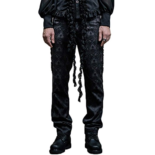 Devil Fashion Gothic Victorian Men Pants Steampunk Fashion High Waist Wedding Formal Trousers by Devil Fashion